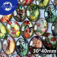 ZEROUP 10pcs/lot Dia 30*40mm oval glass cabochon a girl with wings mixed pattern fit base setting for jewelry flatback TP-003