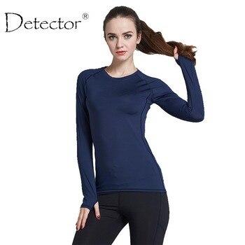 Yoga de la mujer camisas de manga larga running shirts tops compresión medias de entrenamiento de la aptitud deportiva camisas respirables de secado rápido