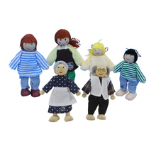 4pcs Wooden Dolls Set Family Kids Pretend Performance Role Play Toy Kids Parents Interactive Educational Toy Xmas Gift