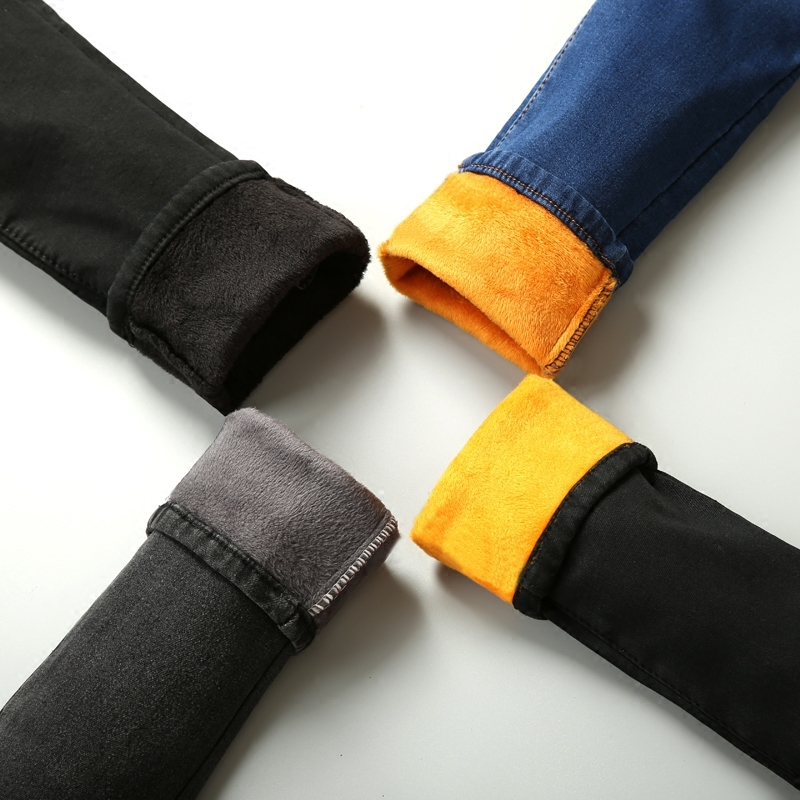 2017 Winter Fit High Waist Jeans Elastic Femme Women Thickening Washed Denim Skinny Jeans Classic Warm Velvet Pencil PantsÎäåæäà è àêñåññóàðû<br><br>