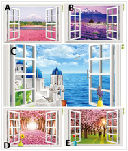 Natural scenery 3D Window Decal Home Decor Mediterranean Sea wall wallpaper Removable Wall Art Sticker
