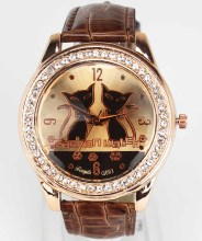 Womens Fashion Trendy Two Cat Face Dial Gold Case Crystal Leather Band Quartz Analog Wrist Watch