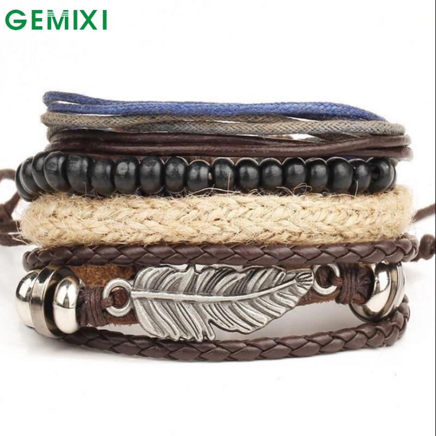 Bling-World New Men's Braided Leather Stainless Steel Cuff Charm Bracelet Fashion Delicate(China (Mainland))