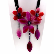 Handmade hot pink agates flower choker necklace with Black crystal(China)