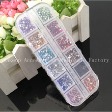 100set  Clear Acrylic Crystal Bling Nail Art Sticker 2400pcs/set Confetti Gems  Deco Glitters Beautiful Nail Decoration