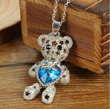 Fashion Necklaces For Women Blue Crystal Cute Dancing Teddy Bear Shape Statement Necklace Pendant Party Jewelry