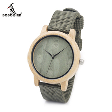 BOBO BIRD V-D12 Mens Bamboo Wooden Watches Green Wood Dial Bamboo Case Quartz Wristwatch with Nylon Strap in Gift Box