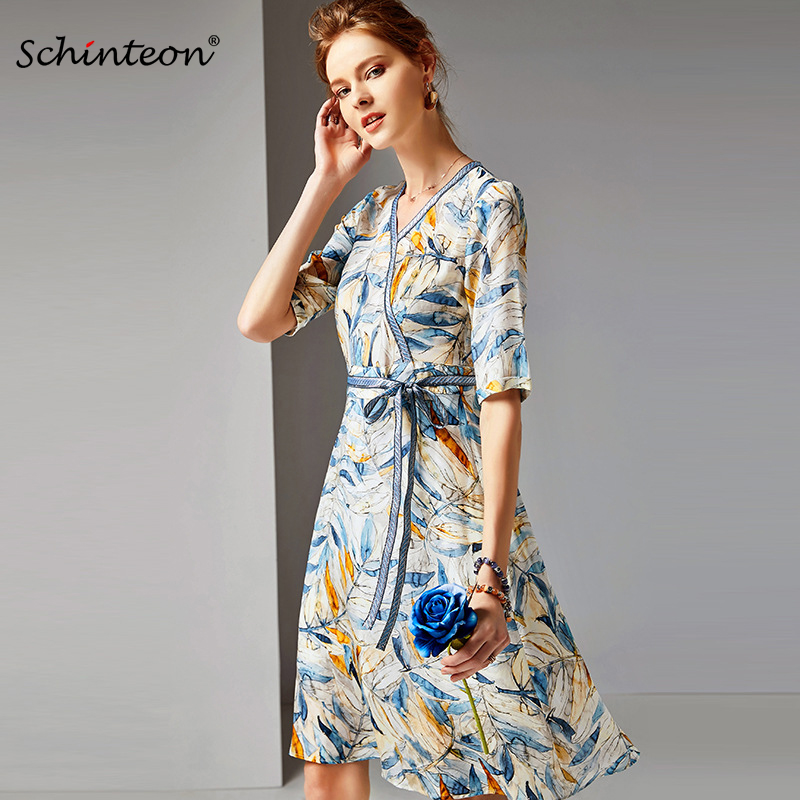 2019 Spring Summer 100% Real Silk Print Dress V-Neck Long Elegant Dress with Belt Half Sleeve Party New Arrival
