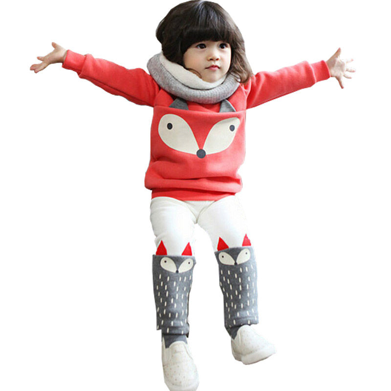 Autumn winter Baby Girls Clothing set Lovely Childrens Clothing 2PCS Thick Long Sleeve Fox Tops + Pant Sets<br><br>Aliexpress