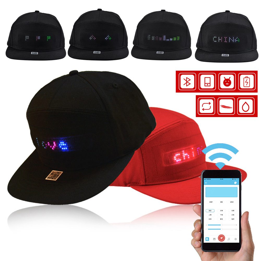 1PC LED Display Hat Cap Bluetooth4.0 Mobile APP Control Adjustable USB Charging