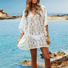2017Summer Fashion Lace V-neck Hollow Crochet T shirt Women Tops Solid Short Sleeve Female T-Shirts Batwing Loose Shirt Feminino
