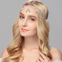 2017 new fashion bridal headdress pearl crystal Headbands leaf Alloy Hairhoop wedding dress accessories Women jewelry(China)