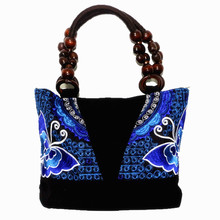 Chinese Ethnic Style Embroidery Wooden Beading Handle Canvas Handbag Women's Vintage Casual Hand Tote Cute Flap Canvas Bag
