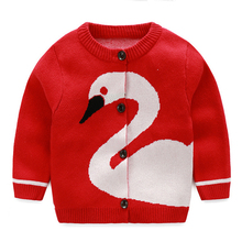 Girls Boys Sweaters New Swan Outerwear Cartoon Printing Tops 2016 Cotton Apparel Knitted Infant Cardigan Sweater With Buttons