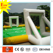 factory direct 2016 hot sale pvc tarpaulin 10*6 m inflatable water football soccer field playground for sale(China)