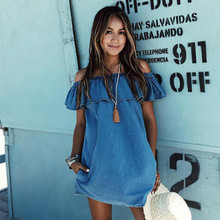 2017 Women Dress New Fashion Designer Loose Slash Neck Jeans Dresses Summer Casual Sleeveless Ladies Elegant Denim Dresses
