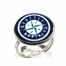 Ring MLB seattle mariners Charms Round Glass Dome Silver Plated  Ring For Women Girl Adjustable  GDR081