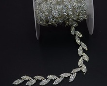 1 Yard Leaf Shape Glass Crystals Rhinestones Ribbon Trim Lace Chain For Sewing Wedding Dress Prom Apparel Craft