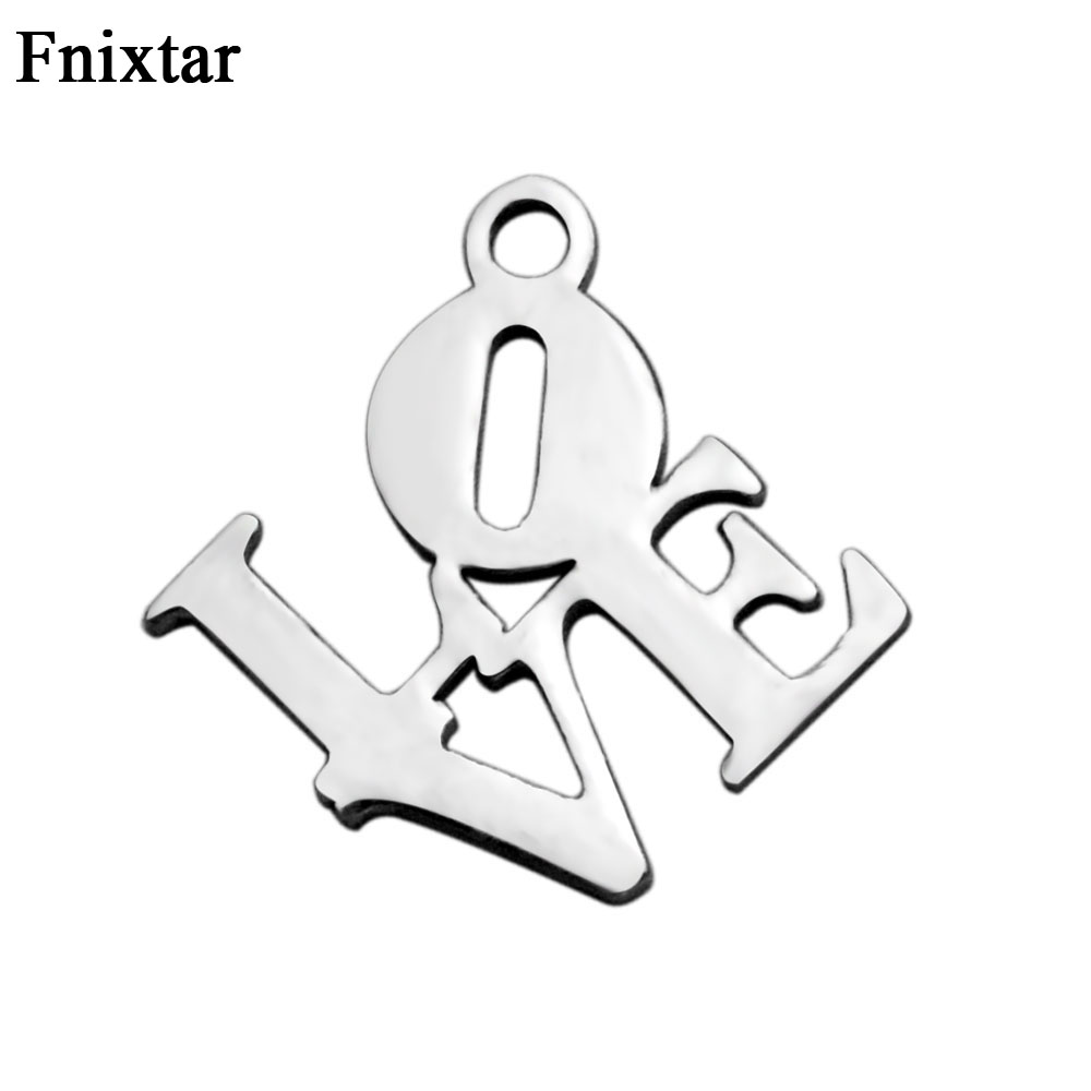Fnixtar Letter Mini Charms Bracelets Diy Jewelry Findings Components Stainless Steel Love Charm Jewelry Making 20pcs/lot