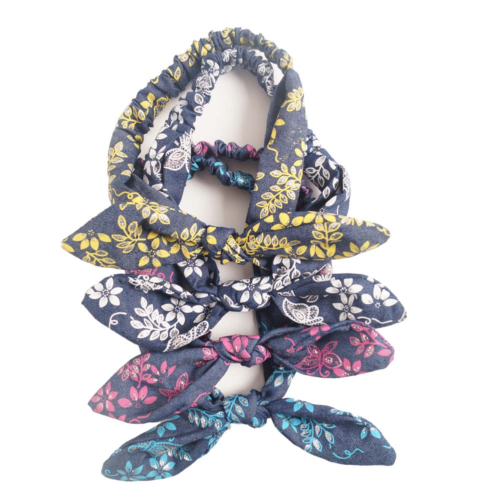 High Quality Print Denim Rabbit Ear Headband With Bow Hair Band For Women Adult Girl Headwear Head Wrap<br><br>Aliexpress