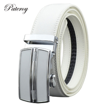[PATEROY] Belt Designer Belts Men High Quality Fashion Geometric Metal Automatic Buckle Genuine Leather Luxury Brand Belt White