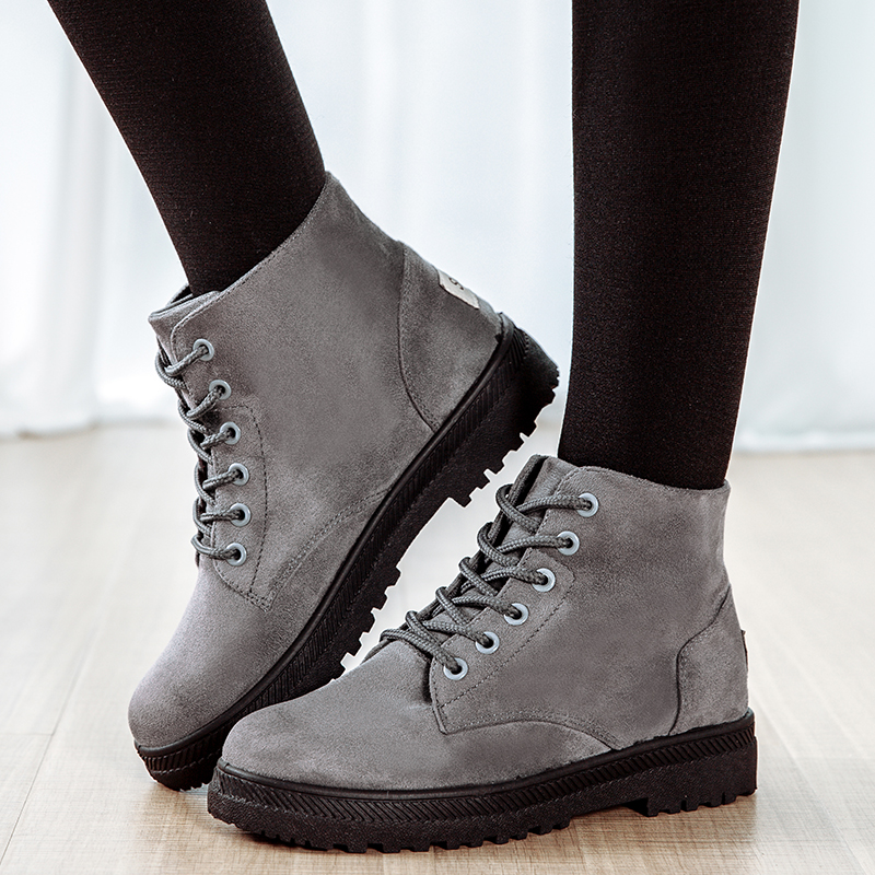 2017 Spring Autumn Suede Boots Female Women Boots Platform Shoes Women Fashion Ankle Rubber Boots Lace Up Botas femininas 643322<br><br>Aliexpress