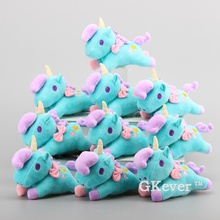 Cartoon 10 pcs/Lot Little Twin Star Unicorn Plush Pendant with Keychain Cute Mini Plush Toy Dolls Bag Accessory 14 cm