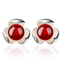 925 Sterling Silver Red And Black B Lucky Silver Earrings For Women Earrings Sterling-silver-jewelry Brincos VES6407