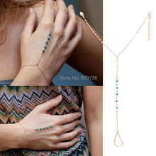 2015 Chic Boho Womens Simple Style Turquoise Beads Harness Hand Finger Chain Slave Bracelets Handchain jewelry Drop Ship