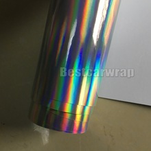 2017 hot sale! Silver Holographic Chrome Car wrap Vinyl With air release unique Vehicle Styling graphics Size:1.52*20M/Roll(China)