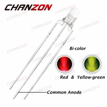 CHANZON 100pcs Transparent 3mm LED Diode Red And Yellow Green Common Anode 3 mm Clear Lens Round Bicolor Light Emitting Diode
