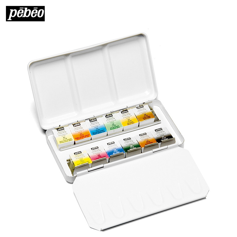 Freeshipping France Pebeo 12 color solid metal box  water color paints Watercolor pigment for professional art student artist<br>