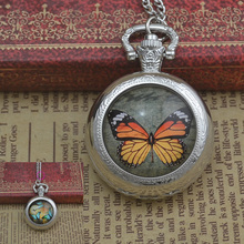 fashion butterfly quartz pocket watch necklace woman fob watches silver round convex lens glass picture lady girl cute 2016 new(China)