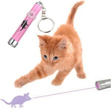 Creative and Funny Pet Play Cat Toy LED Light Laser Pointer Pen With Bright Mouse Animation Color Random