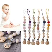 Buy NEW Baby Wooden Beaded Pacifier Holder Clip Nipple Teether Kids Dummy Strap Chain pacifier clips for $2.64 in AliExpress store