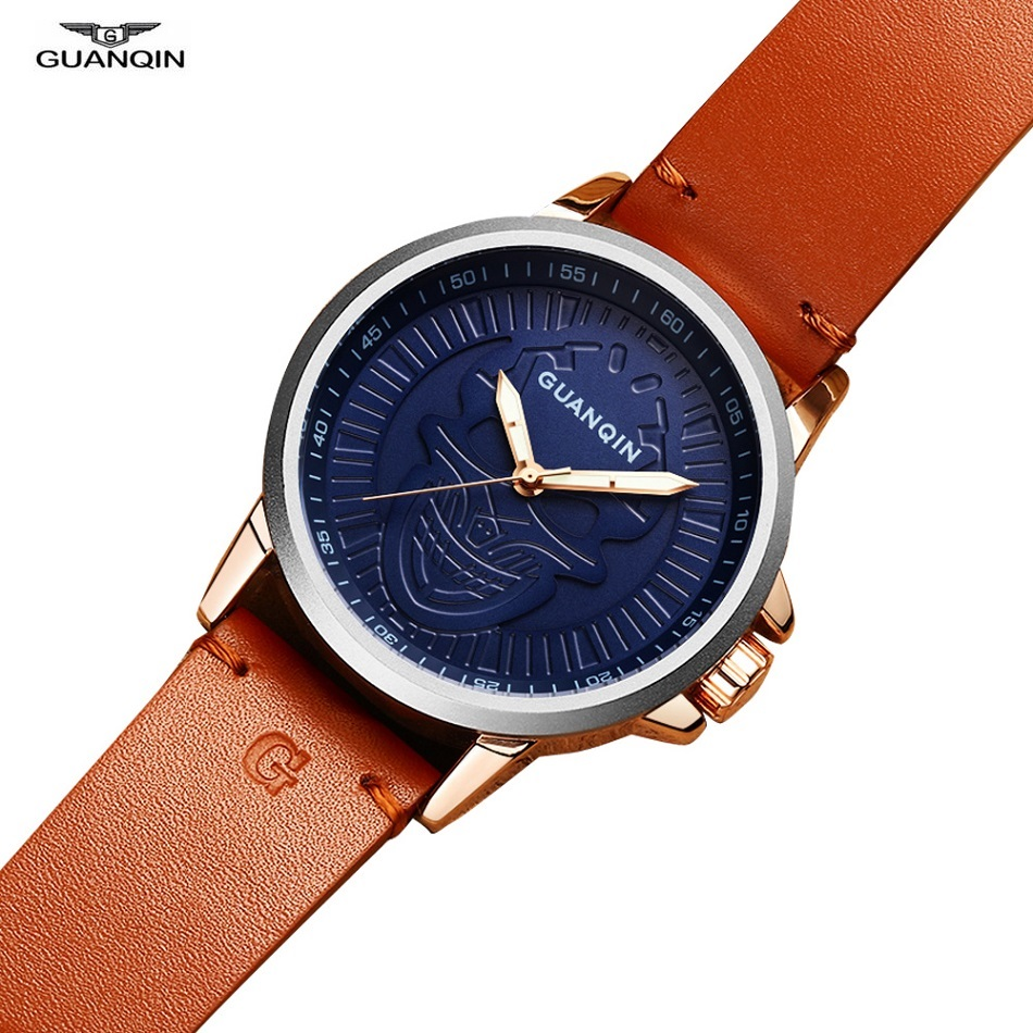 GUANQIN Skull Watch Fashion Wrist Watch Men Shockproof Waterproof Leather Quartz Wristwatch Clock Male Mens Watches Gift Box<br>