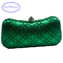 Flower Emerald Dark Green Rhinestone Crystal Clutch Evening Bags for Womens Party Wedding Bridal Crystal Handbag and Box Clutch(Hong Kong)