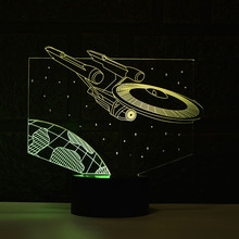 Star Trek Double Color 3D Led Night Light Lamp Color Changing USB LED Lighting Nightlight Star Trek Spaceship(China)