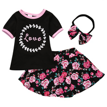 3 pc Set Baby Girl Clothes Set Bowknot Headband + Letter Print T-shirt Tops + Flower Dress Skirt Pants Outfits