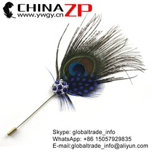 Leading Supplier CHINAZP Factory Good Quality Handmade Natural Peacock With Blue Guinea Feather with Rhinestone Brooch Pin