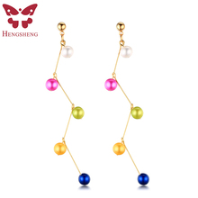 HENGSHENG New Colorful Natural Pearl Women Dangle Earrings,6.5-7mm Near Round AAAA Pearl With Gold Earring,White/Blue/Green/Red