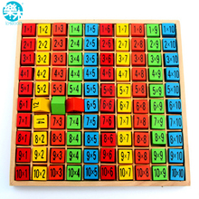 Baby wooden Toys 99 Multiplication Table Math Toy 10*10 Figure Blocks Baby learn Educational montessori gifts free shipping(China)