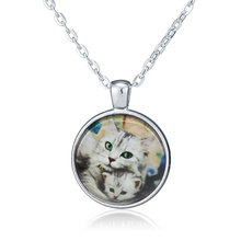 Trendy Antique bronze Plated Jewelry Color Lovely Cat Mother and  Cat Baby Fashion Jewelry Silver Chain Necklace Fine Jewelry