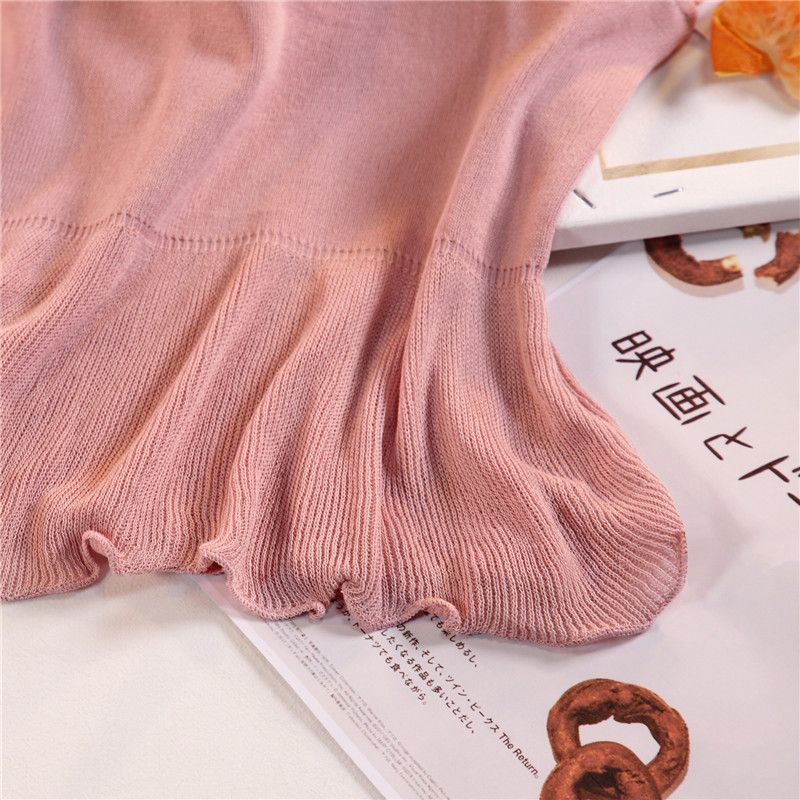 Women Fashion Knitting Patchwork Chiffon Ruffles Neck Cropped Tanks Tops Girls Knitted Tee shirts Camis crop Tops Female 22