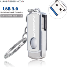 WANSENDA Stainless Steel USB Flash Drive Pen Drive 4GB 8GB 16GB 32GB 64GB High Speed USB 3.0 Pendrive Memory Stick