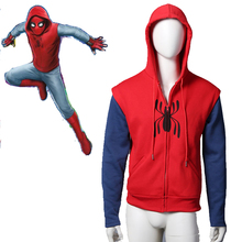 Spider-Man:Homecoming hoodie cosplay costume Cotton Sweater men's Hooded Peter Park SpiderMan zipper coat(China)