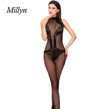 Millyn Ideas NET pierced sexy Leotard cross Jacquard transparent spandex fishnet stockings halter neck lace lovely lingerie