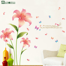 YunXi Pink Wind Rain Flowers Plant Butterfly Stickers Bedroom Living Room Background Decorative Wallpaper PVC Wall Stickers