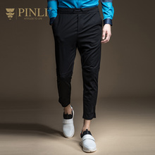 Pinli Promotion Midweight Straight Mid Skinny Bamboo Fiber 2017 New Spring Men's Casual Pants Nine Slim Knit Feet B171417091(China)
