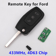 3 Buttons Remote Key for FORD Car Mondeo Focus Fiesta C Max S Max Galaxy 433MHz with 4D63 Chip HU101 Blade